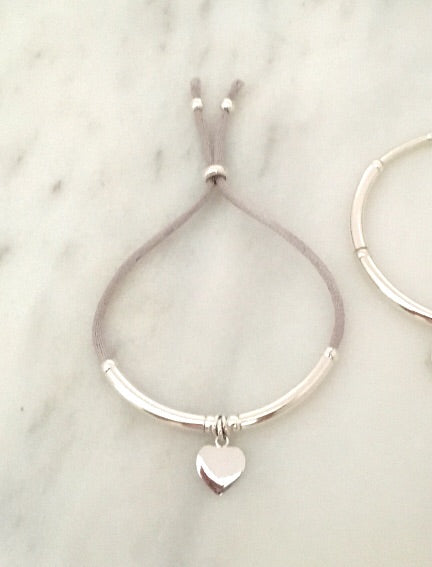 New Unity Friendship Bracelet in Sterling Silver + Sterling Silver Heart Tag Charm in Grey