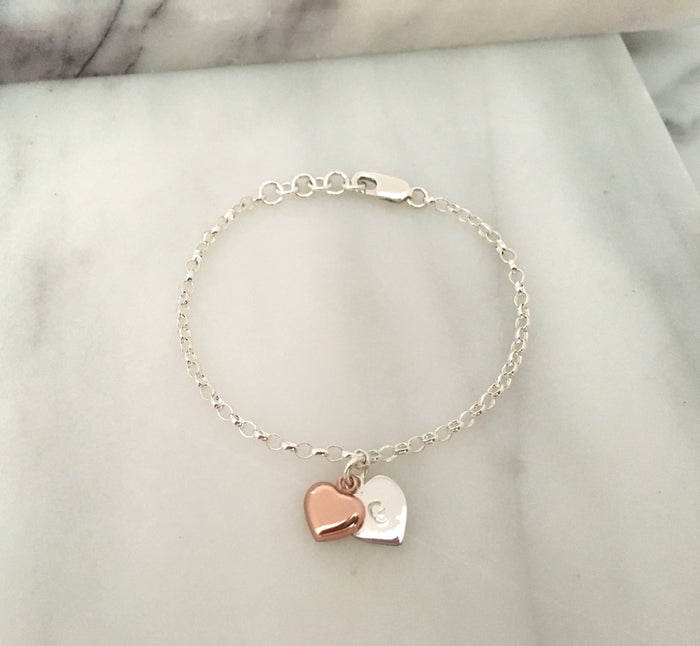 New Rose Gold & Personalised Initial Simplicity Heart Tag Chain Bracelet in Sterling Silver