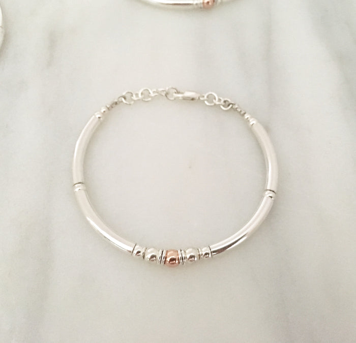New Simplicity Cluster Bracelet in Sterling Silver + Rose Gold Plated Sterling Silver Bead