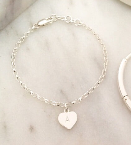 New Personalised Initial Simplicity Heart Tag Chain Bracelet in Sterling Silver