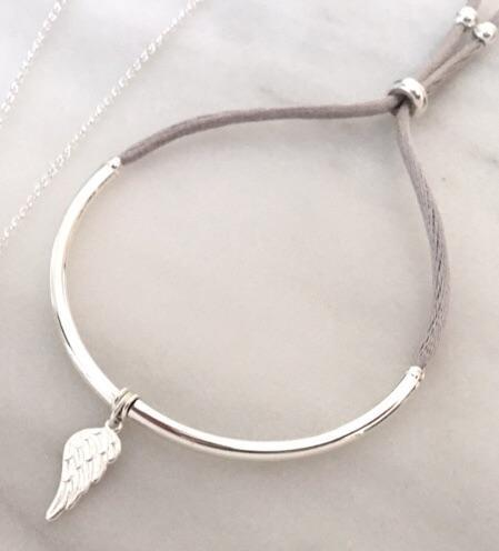 Angel Wing Unity Friendship Bracelet in Silver