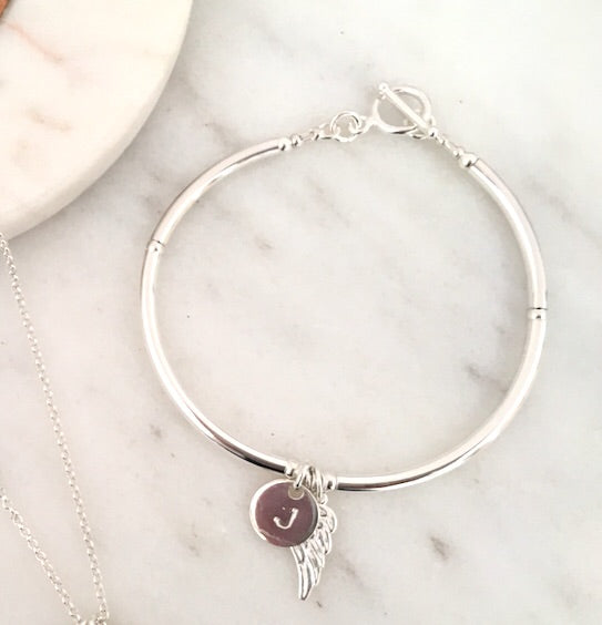 Angel Wing Personalised Initial Simplicity Bracelet in Silver