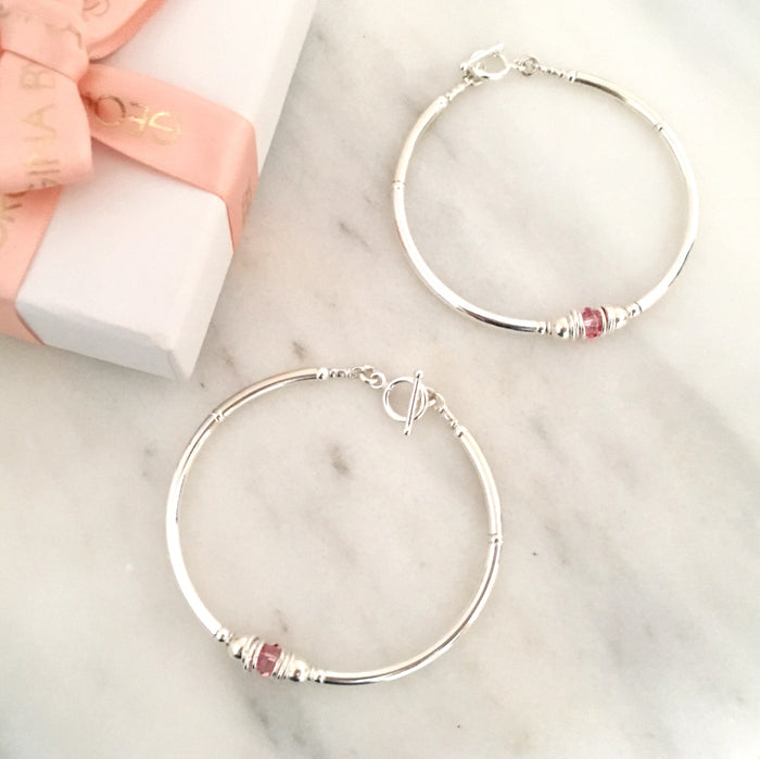 Purity Bracelet in Silver + Baby Pink