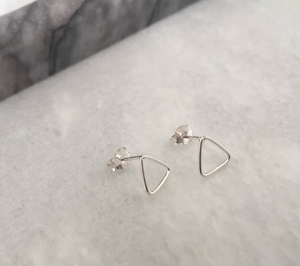 Open Triangle Earrings in Silver