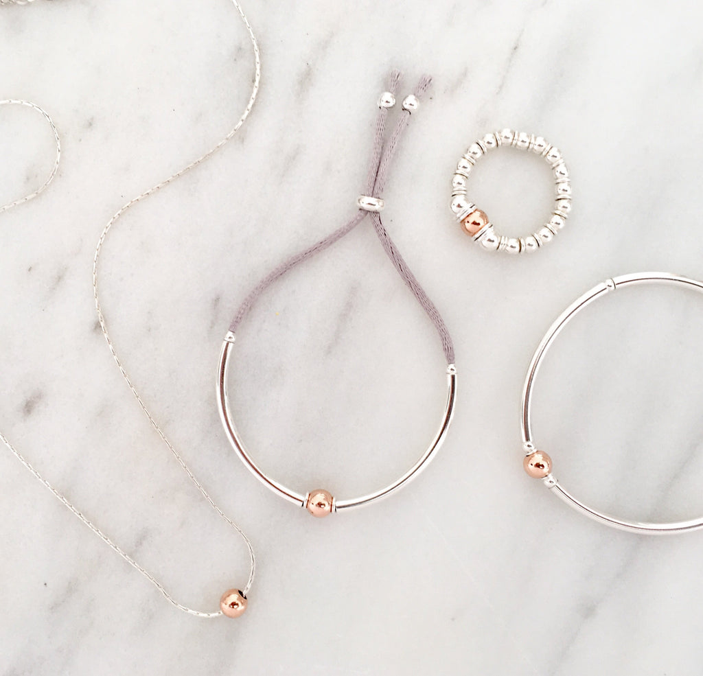 Simplicity Bead Necklace in Silver + Rose Gold Plated Sterling Silver