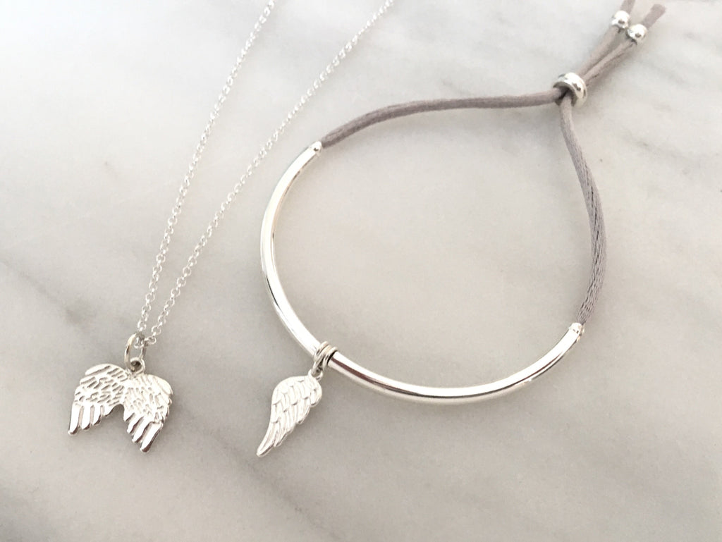 Angel Wing Unity Friendship Bracelet in Sterling  Silver