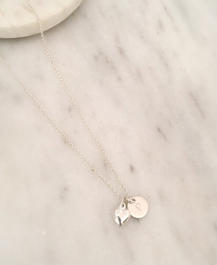 Personalised Heart Initial Necklace in Silver
