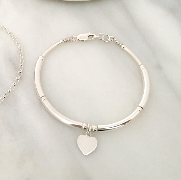 New Heart Tag Simplicity Bracelet in Sterling Silver
