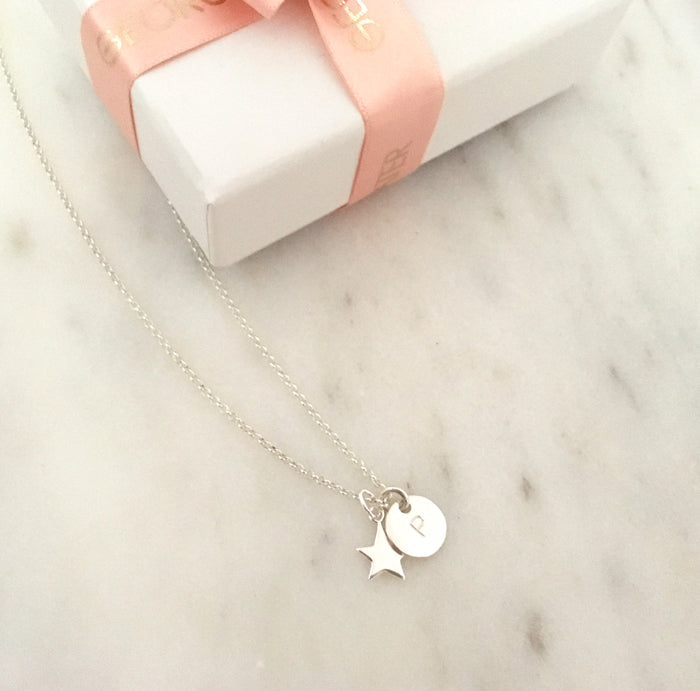 Personalised Star Initial Necklace in Silver