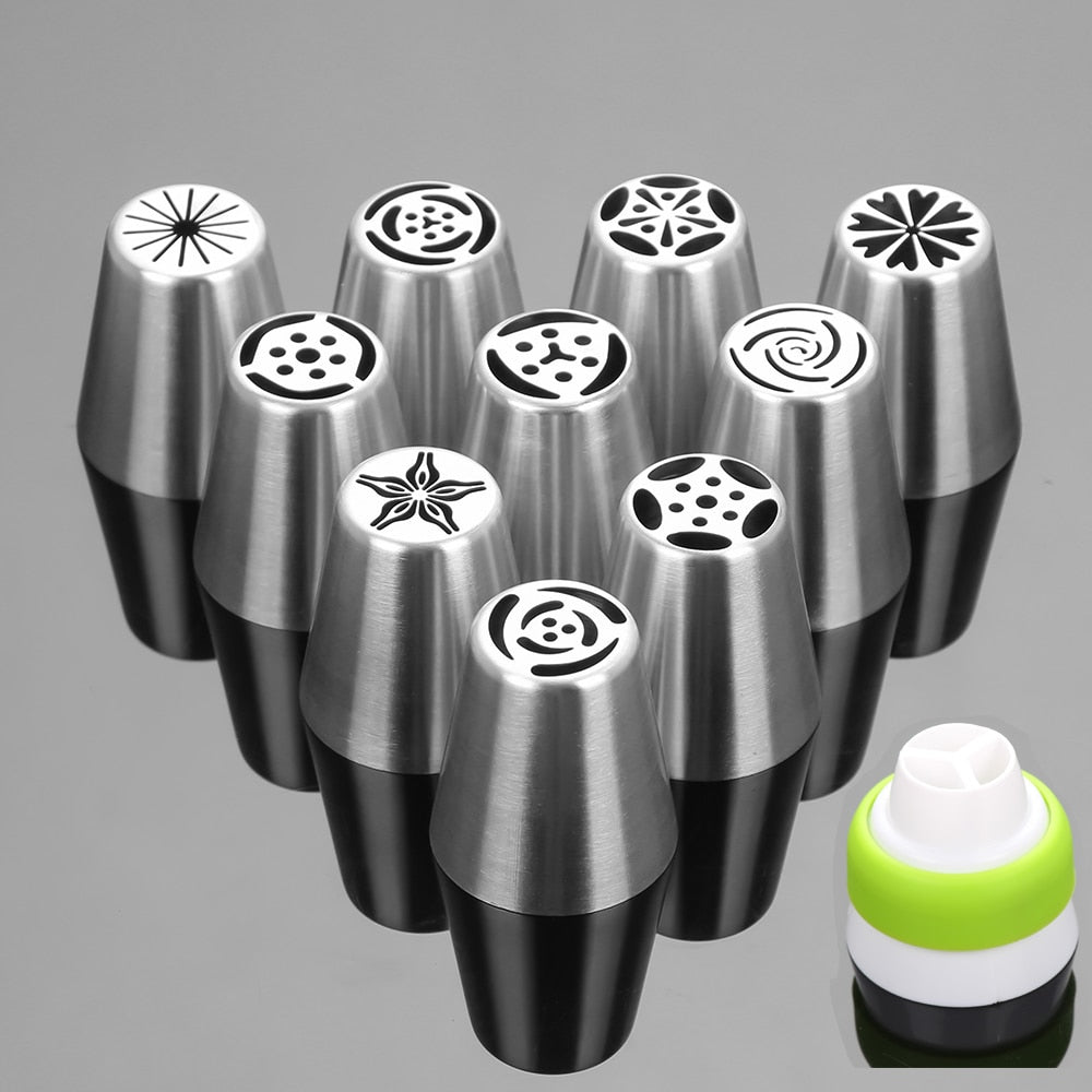 Buy OK-CHEF - 11PCS Stainless Steel Cake Nozzles Russian Pastry Tip Icing Piping Nozzle Decorating Tools Fondant Confectionery Sugarcraft