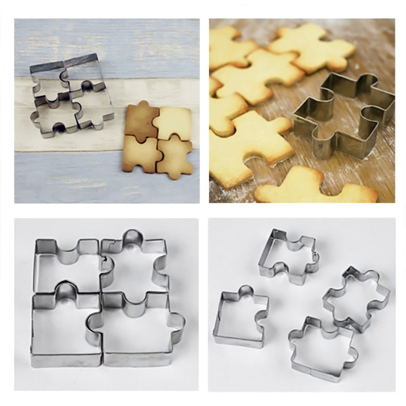 Buy OK-CHEF - 4Pcs/set 3D Puzzle Shape Cookie Cutter Stainless Steel Cookie Toast Cutter DIY Biscuit Dessert Bakeware Cake Fondant Mold