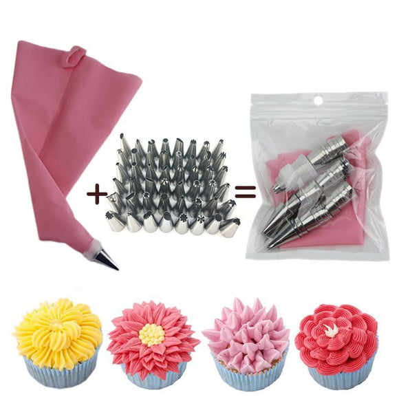 Buy Now 👉 50pcs Pink Silicone Pastry Bags Tips 48 Icing Piping Nozzles + Cream Reusable Pastry Bags Cake Decorating Tools Pastry Nozzles by #BlueIngredients #OkChef