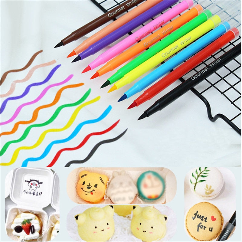 Buy OK-CHEF - Edible Pigment Pen Brush Food Coloring Pen for Drawing Biscuits Fondant Cake Decorating Tools Cake DIY Draw Tool Candy Decor