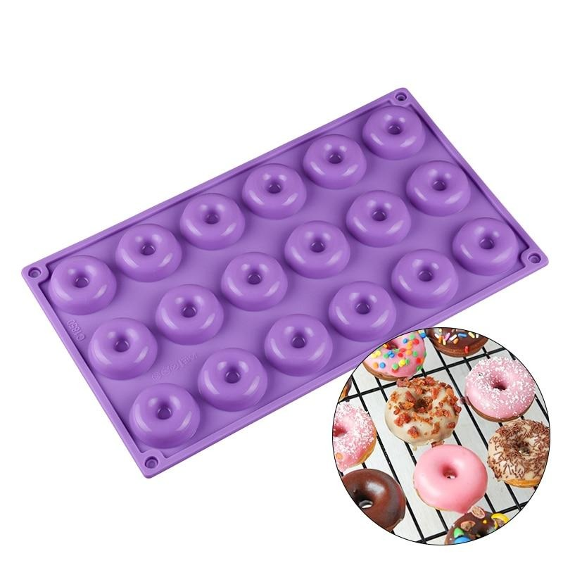 Buy OK-CHEF - 18 Mini Donuts Round Shaped Dessert Silicone Mold Chocolate Biscuit Cake Cupcake Molds Doughnut Mould Chocolate Ice