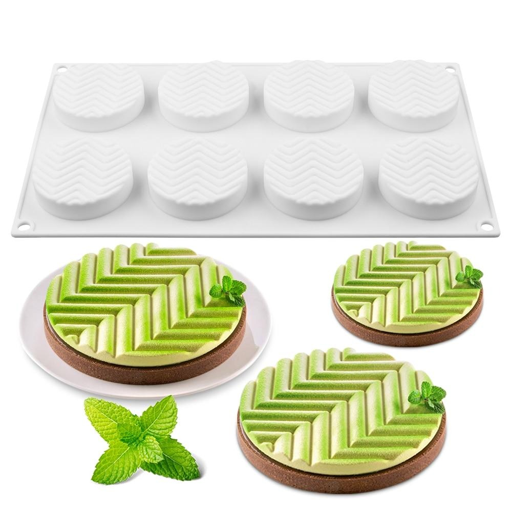Buy OK-CHEF - 8 Cavities 3D Cake Mould Silicone Baking Mousse Cakes Round DIY Oven Safe Non-stick Brownie Dessert Molds Cake Tray