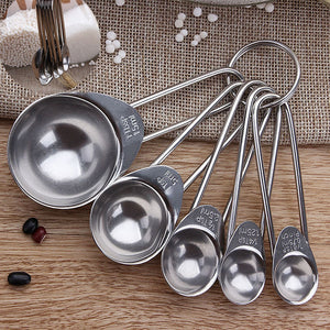 5 pcs Stainless Steel Measuring Cup Kitchen Scale Measuring Spoons Scoop For Baking Cooking Teaspoons Sugar Coffee Tools Set#25