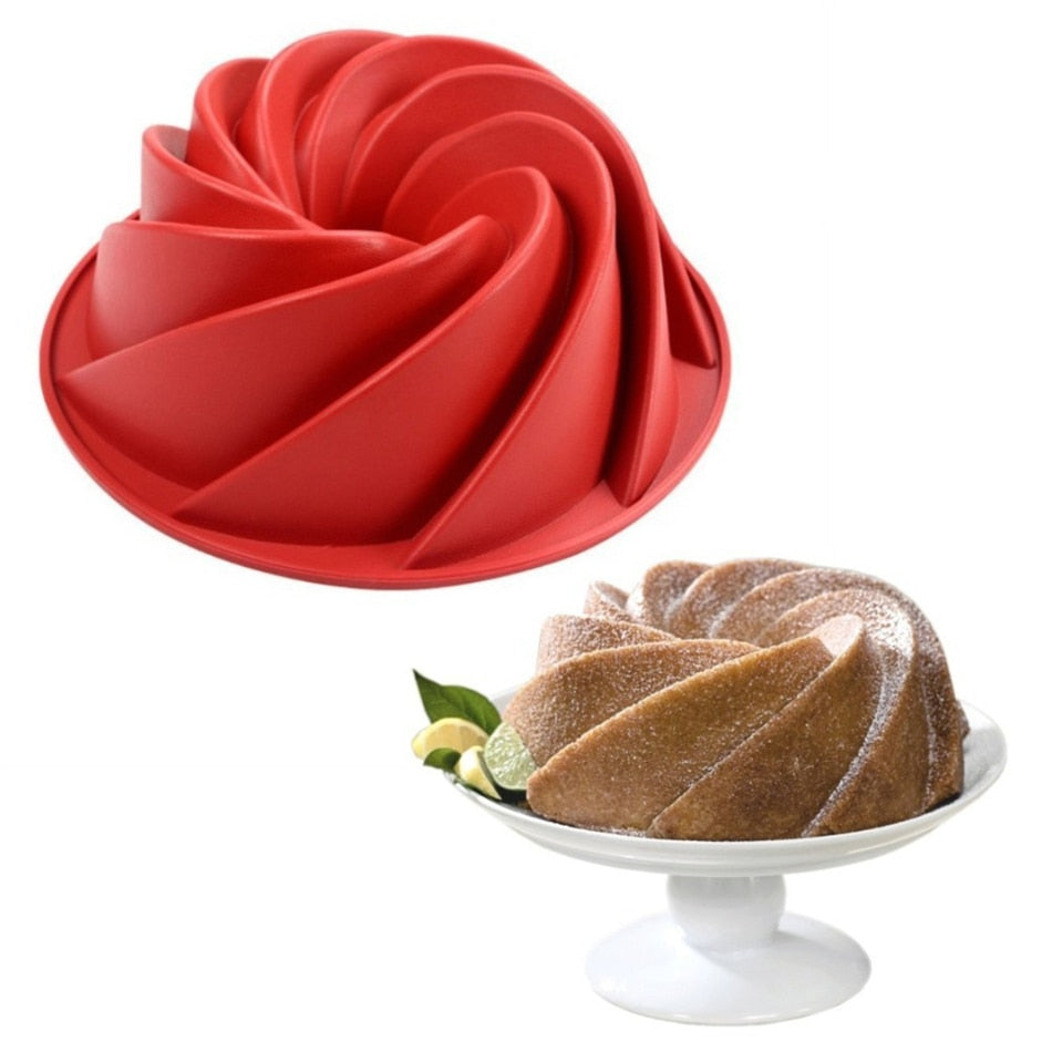 Buy OK-CHEF - Large Spiral Shape Food Grade Silicone Bundt Cake Mold Pan 3d Fluted Cake Mould Form Bread Bakery Baking Tools Bakeware