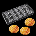 Buy OK-CHEF - 15 Cavity spiral-shaped Polycarbonate Chocolate Mold for Dessert cake decoration ,hard plastic PC chocolate candy baking mold