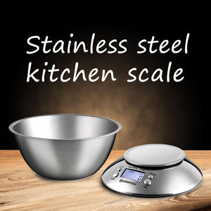 Buy OK-CHEF - Digital Kitchen Scale High Accuracy 3 Kg Food Scale with Removable Bowl Room Temperature, Alarm Timer Stainless Steel Libra