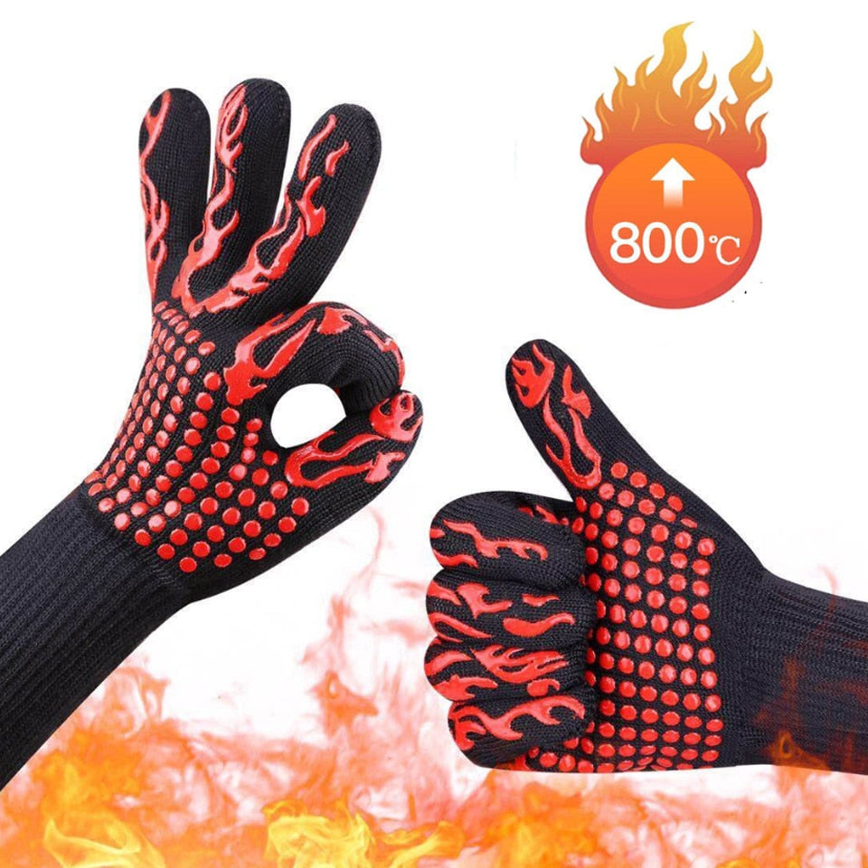 Buy OK-CHEF - 1pair of 2pcs BBQ Gloves high temperature resistance oven mitts 500 800 degrees fireproof barbecue heat insulation microwave oven gloves