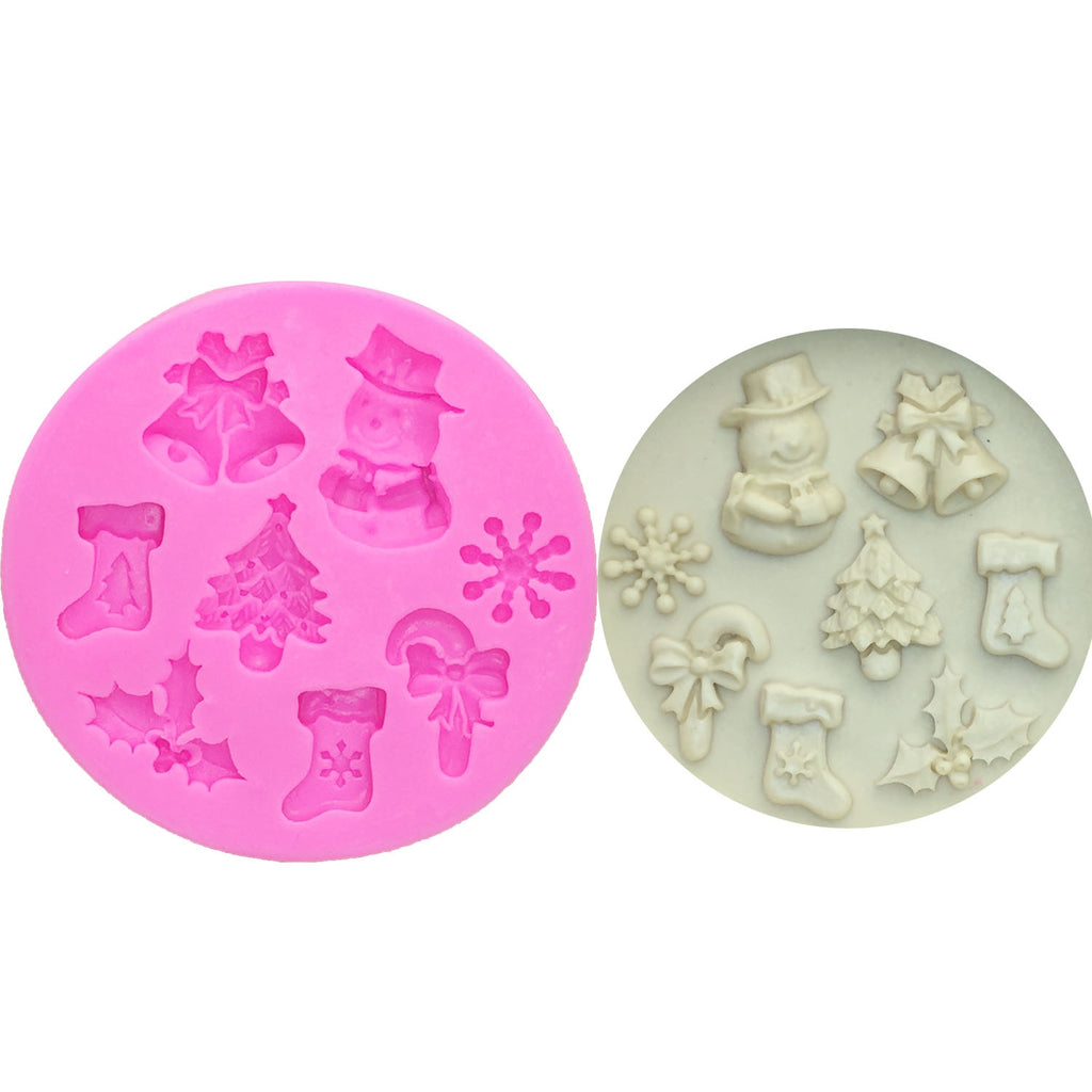 Buy OK-CHEF - Food Grade 3D Christmas Tree/Bell/Snowman/Snowflake/sock Shape Silicone Mold Cake Decorating Tool