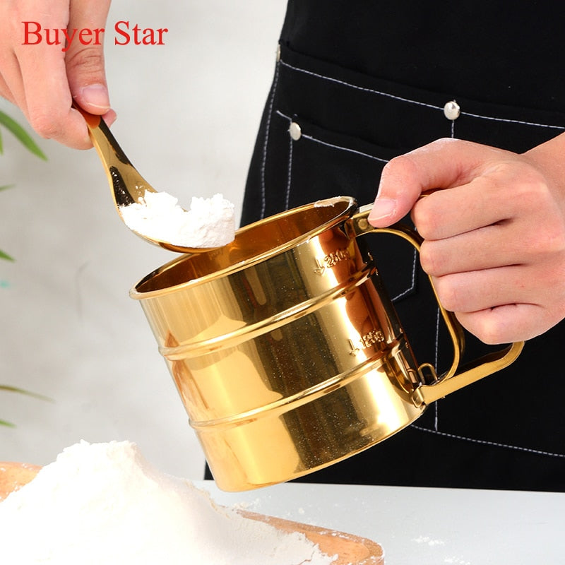 Buy OK-CHEF - New Stylish Manual Stainless Steel Flour Sieve Baking Pastry Tools durable Bake ware Golden Kitchen Gadget metal Mesh Sieve Cup