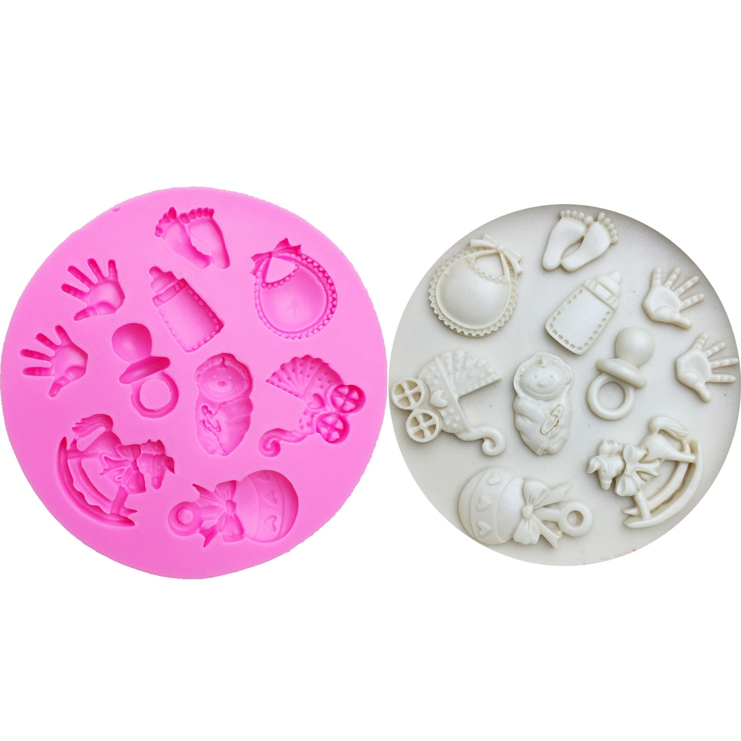Buy OK-CHEF - Baby DIY Hand/ Trojan/Bottle/Foot/carriage Silicone Mold Cake Decoration Tools