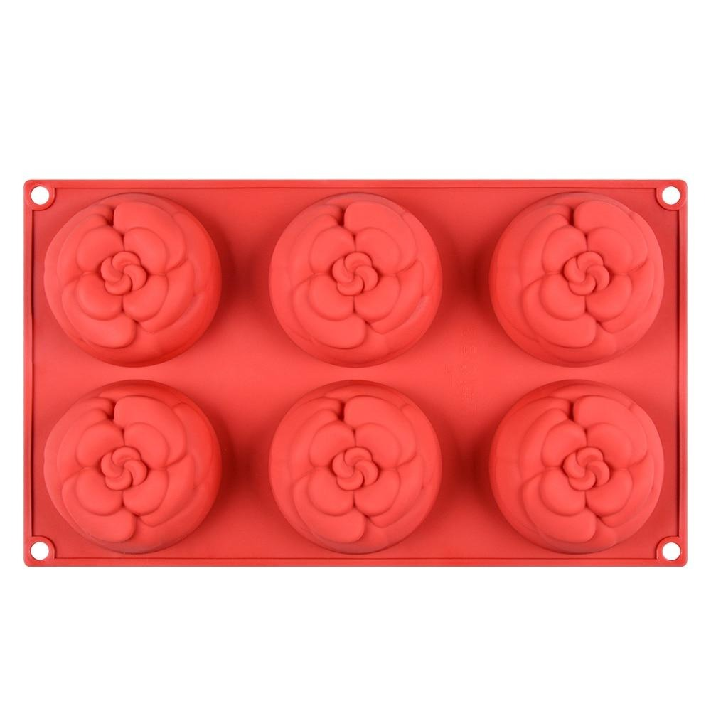 Buy OK-CHEF - 6 Cavity 3D Flower Shape Silicone Mold For Making DIY Handmade Craft Moulds Forms