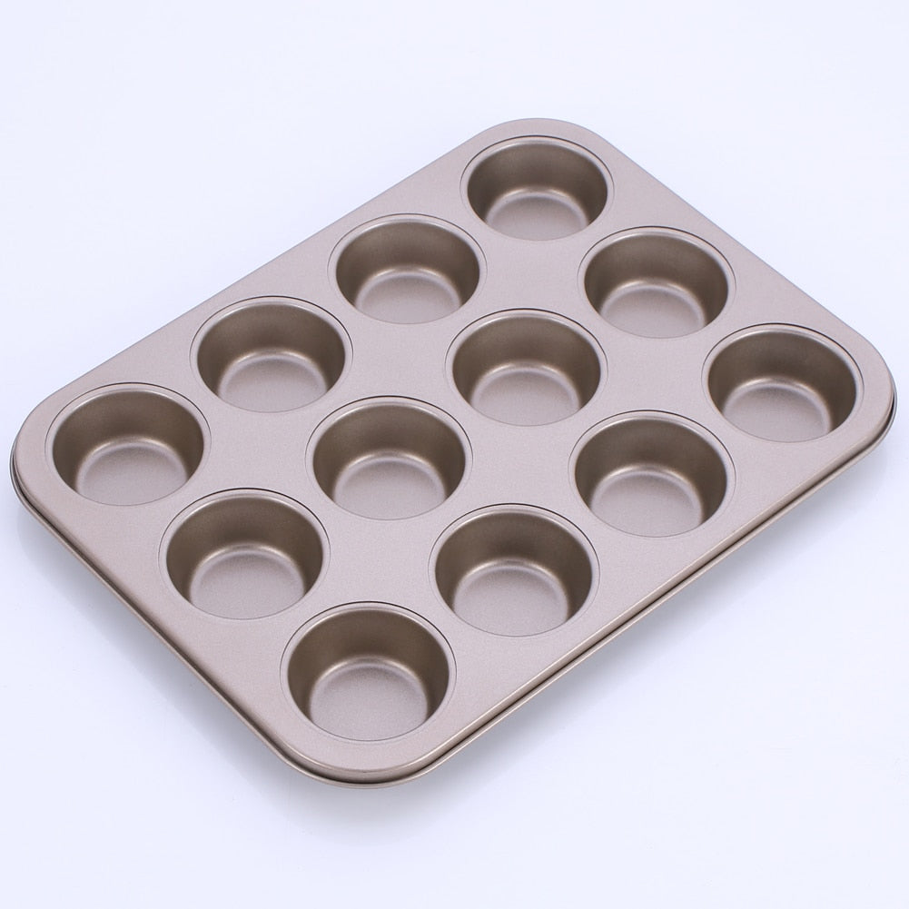 Buy OK-CHEF - 12-Cavity Non-Stick Round Muffin Cup Baking Pan Carbon Steel Cake Fondant Cupcake Mold Tart Trays Mould Bakeware Tools