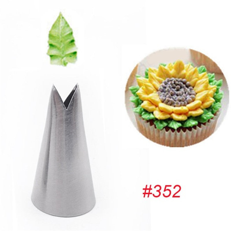 Buy OK-CHEF - 1Pc Leaf Nozzles Icing Piping Tips Nozzles Pastry Stainless Steel Cream Cupcake Cake Decorating Cooking Tools 352#