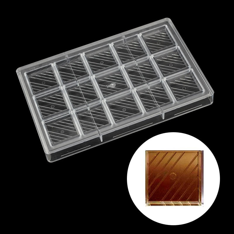 Buy OK-CHEF - DIY Square diagonal stripes candy bar Polycarbonate chocolate mold Confectionery tools for decorating cakes baking pastry tools