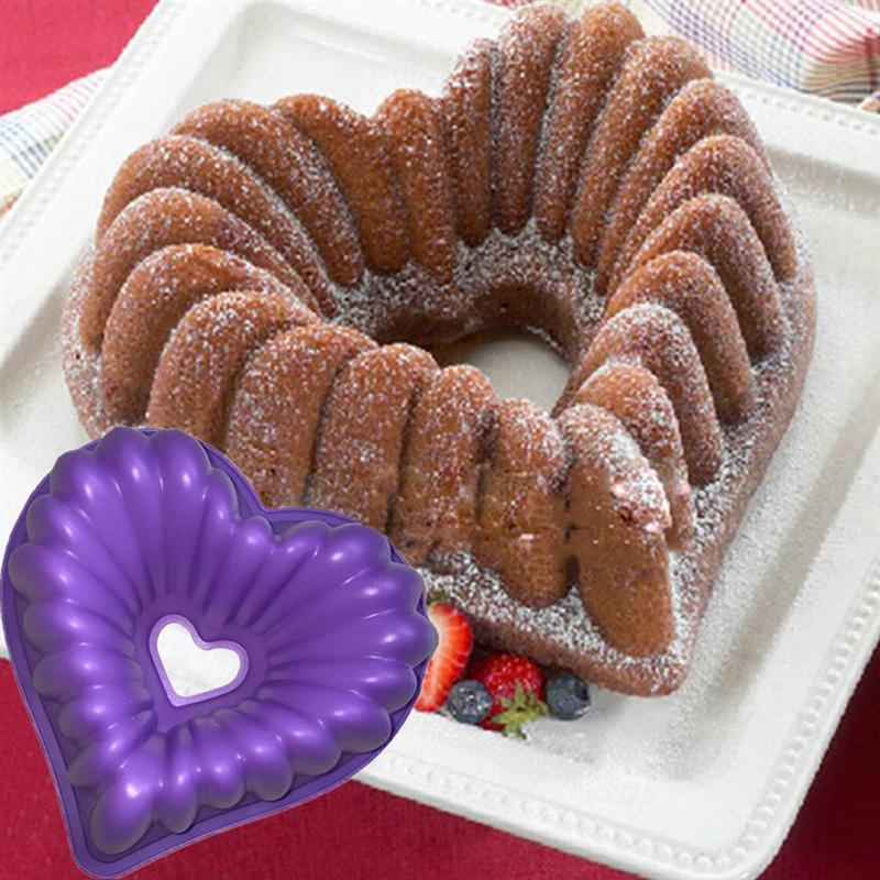 Buy OK-CHEF - 1pc Love Heart Shape Cake Mold Silicone Freezing and Baking Pastry Molds Mousse Bread Mould Bakeware DIY Non-Stick Cake Pan