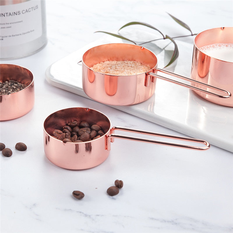 Buy OK-CHEF - Rose gold Stainless Steel Measuring Cups and Spoons set of 8 Engraved Measurements,Pouring Spouts & Mirror Polished for Baking