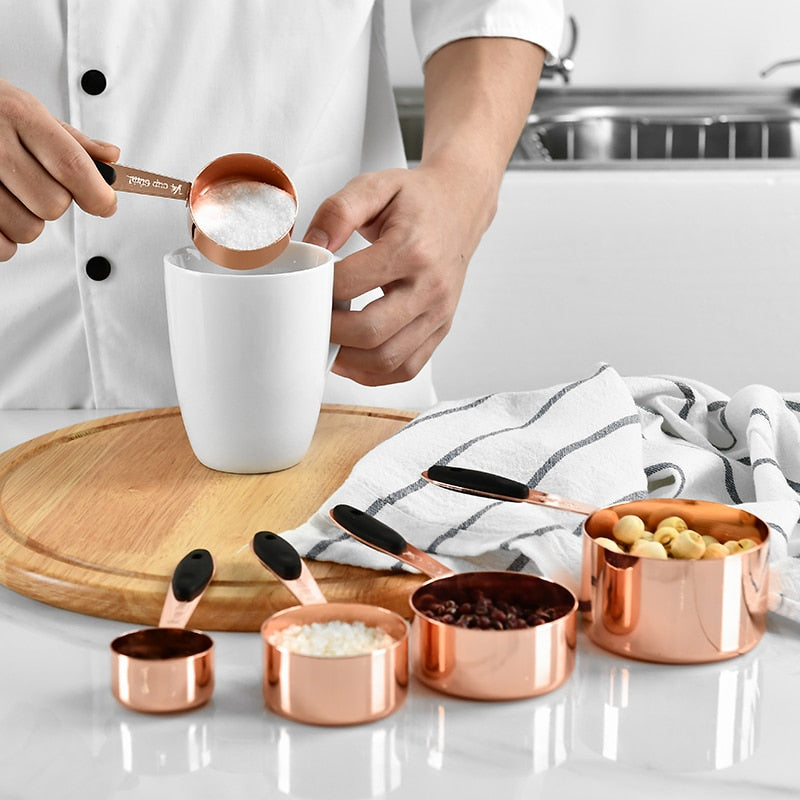 Buy OK-CHEF - Measuring Cup Stainless Steel Plated Copper Rose Gold Kitchen Accessories Baking Bartending Measuring Spoon Cooking Tools Set