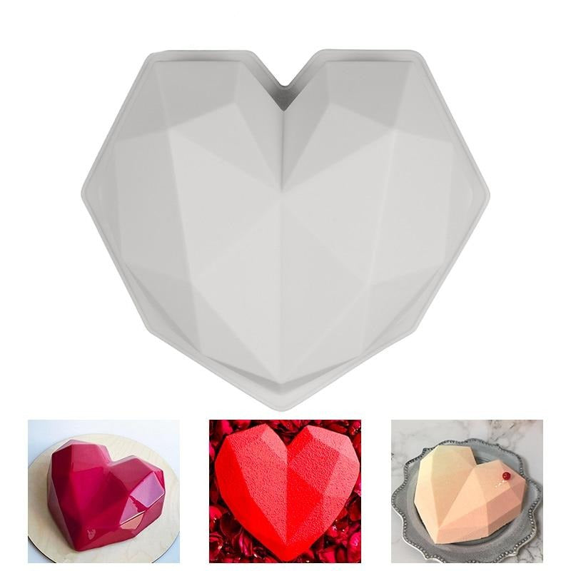 Buy OK-CHEF - 3D Diamond Love Heart Shape Silicone Molds for Baking Sponge Chiffon Mousse Dessert Cake Molds Food Grade
