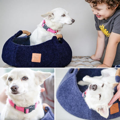 LifeApp Pet Basket Bowl Bed (Navy Blue)
