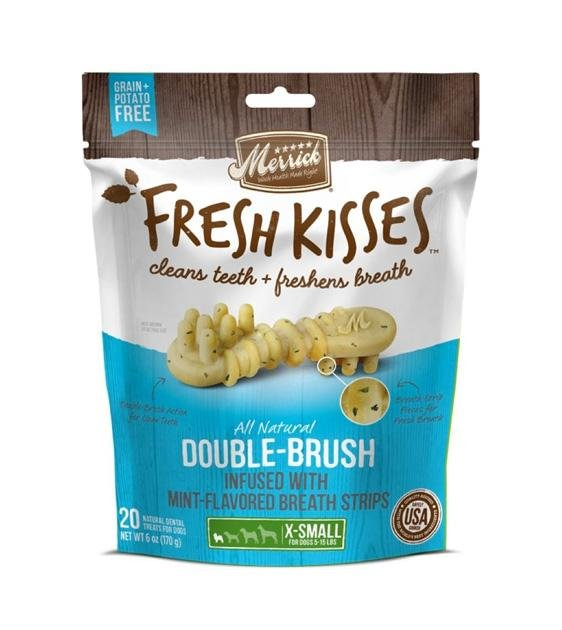 30% OFF: Merrick Fresh Kisses Double-Brush (Mint Flavoured) Dental Dog Chews