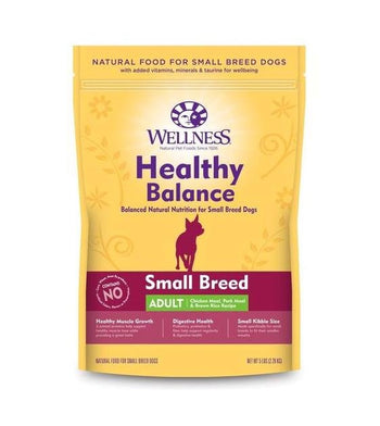 28% OFF: Wellness Healthy Balance (Small Breed Adult) Chicken Meal, Pork Meal & Brown Rice Recipe Dry Dog Food