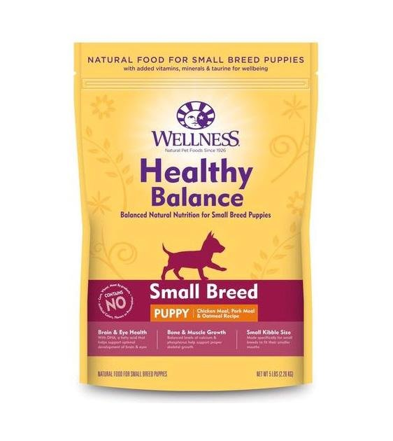 20% OFF + FREE TOPPER: Wellness Healthy Balance (Small Breed Puppy) Chicken Meal, Pork Meal & Oatmeal Recipe Dry Dog Food