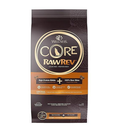 20% OFF + FREE TREATS: Wellness CORE RawRev Grain Free (Original) with Freeze Dried Turkey Dry Dog Food