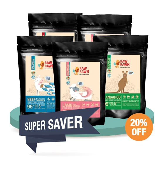 20% OFF [SAVER BUNDLE]: Rawr Rawr Freeze Dried Raw Balanced Diet Dog Food - 400g