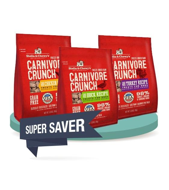 3 FOR $36 [SAVER BUNDLE]: Stella & Chewy's Carnivore Crunch Dog Treats