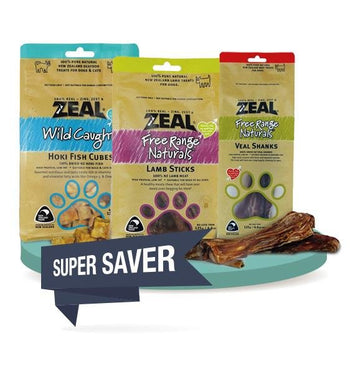 3 FOR $37 [SAVER BUNDLE]: Zeal Free Range Air Dried Dog Treats (Fish / Lamb/ Beef)