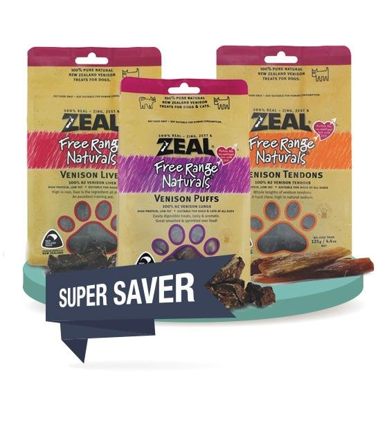 3 FOR $39.80 [SAVER BUNDLE]: Zeal Free Range Air Dried Dog Treats (Venison)
