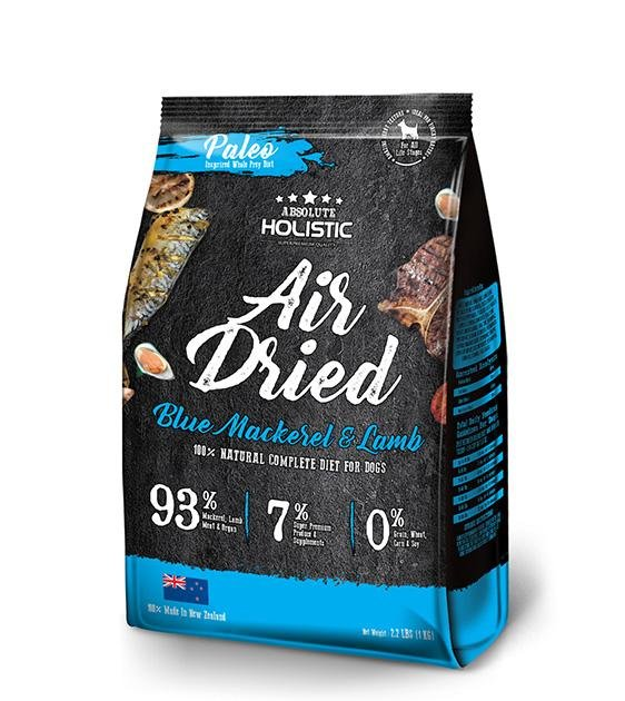 40% OFF: Absolute Holistic Air Dried Blue Mackerel & Lamb Dog Food 1kg