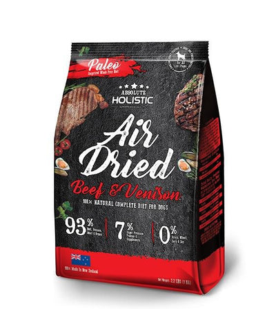 25% OFF + FREE TREAT: Absolute Holistic Air Dried Beef & Venison Dog Food 1kg