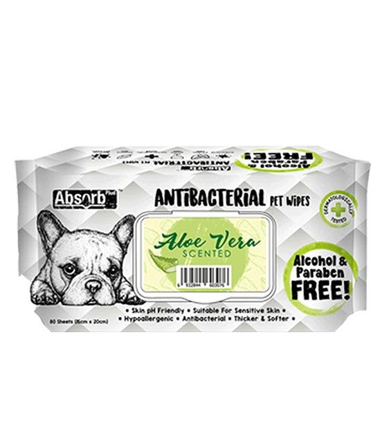 3 FOR $11: Absorb Plus Antibacterial Hypoallergenic Pet Wipes (Aloe Vera)