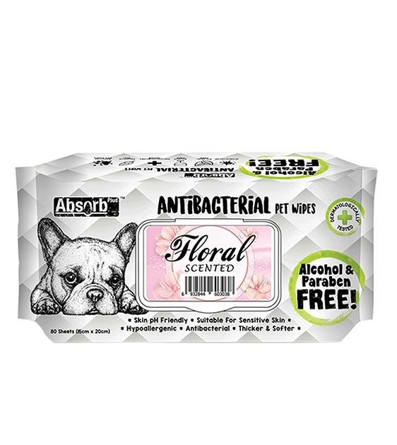 3 FOR $11: Absorb Plus Antibacterial Hypoallergenic Pet Wipes (Floral)