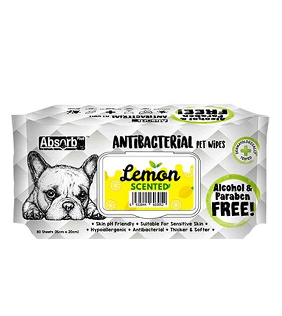 3 FOR $11: Absorb Plus Antibacterial Hypoallergenic Pet Wipes (Lemon)