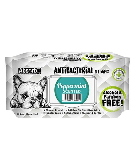 3 FOR $11: Absorb Plus Antibacterial Hypoallergenic Pet Wipes (Peppermint)